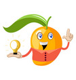 mango with lighting bulb on white background vector image vector image