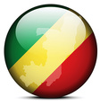Map on flag button of Republic of the Congo vector image vector image