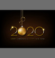 merry christmas gold 2020 design on dark brown vector image