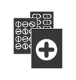 monochrome silhouette with first aid kit and pills vector image vector image