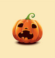 realistic halloween pumpkin scared face vector image vector image