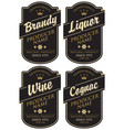 retro labels for various alcoholic beverages vector image