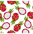 seamless pettern with dragon fruit isolated on vector image