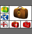 set of bags with flags vector image vector image