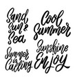 set summer lettering phrase on white vector image vector image
