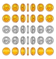 Skull coins rotation animation sprites vector image vector image