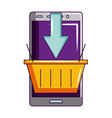 smartphone online shopping basket isolated vector image vector image