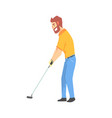 smiling bearded cartoon golf palyer character vector image vector image