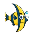 Smiling cartoon striped tropical fish vector image vector image