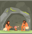 stone age couple cooking meat vector image