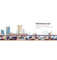 subway train over modern city panorama high vector image vector image