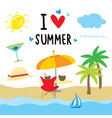 summer beach holiday cartoon vector image vector image