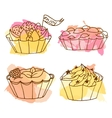 tarts doodle cakes vector image vector image