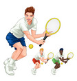 three tennis players with different colors vector image vector image
