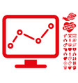 trend monitoring icon with valentine bonus vector image vector image