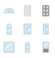 windowed mode icons set cartoon style vector image vector image
