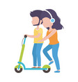 young man riding elecric scooter and woman vector image vector image