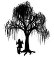 young woman on a swing under weeping willow tree vector image vector image