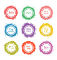 colorful paper circle sticker label bann vector image