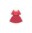 flat cartoon kid girl red dotted dress vector image