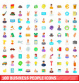 100 business people icons set cartoon style vector image vector image