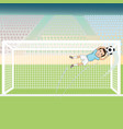 a goal keeper saving a soccer ball on a possible vector image vector image