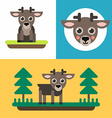 A set of three colorful bright of little reindeer vector image