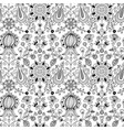 black and white floral folk seamless pattern vector image
