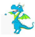 blue dragon cartoon holding blank sign vector image vector image