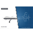 blueprint of military drone in outline style vector image vector image