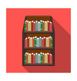 bookcase icon in flat style isolated on white vector image