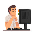 bored businessman sitting at office desk lazy vector image vector image