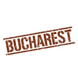 Bucharest brown square stamp vector image vector image