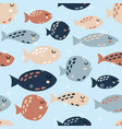 childish seamless pattern with cute fish creative vector image vector image