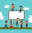 children build blank banner and billboard vector image