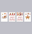 christmas greeting card or invitation set a6 size vector image vector image