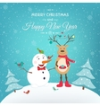 Christmas New Year card with funny snowman deer vector image vector image