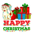 Christmas theme with cat and christmas presents vector image