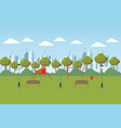 city park with wooden playground vector image