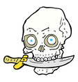 comic cartoon pirate skull with knife in teeth vector image vector image