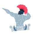 creative fitness club logo with bodybuilder man vector image