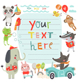 Cute background with characters vector image vector image