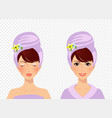 cute girl with towel on head before and after spa vector image vector image