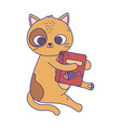 cute little cat sitting with food box pets cartoon vector image vector image