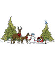 deer snowman sleigh with gifts vector image