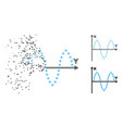 destructed dot halftone sinusoid plot icon vector image vector image