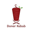 doner kebab with leaves and knifes design template vector image vector image