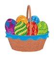 Easter eggs in basket vector image