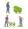 farming man with sprayer set vector image
