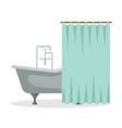 flat a roll-top bath with shower curtain vector image vector image